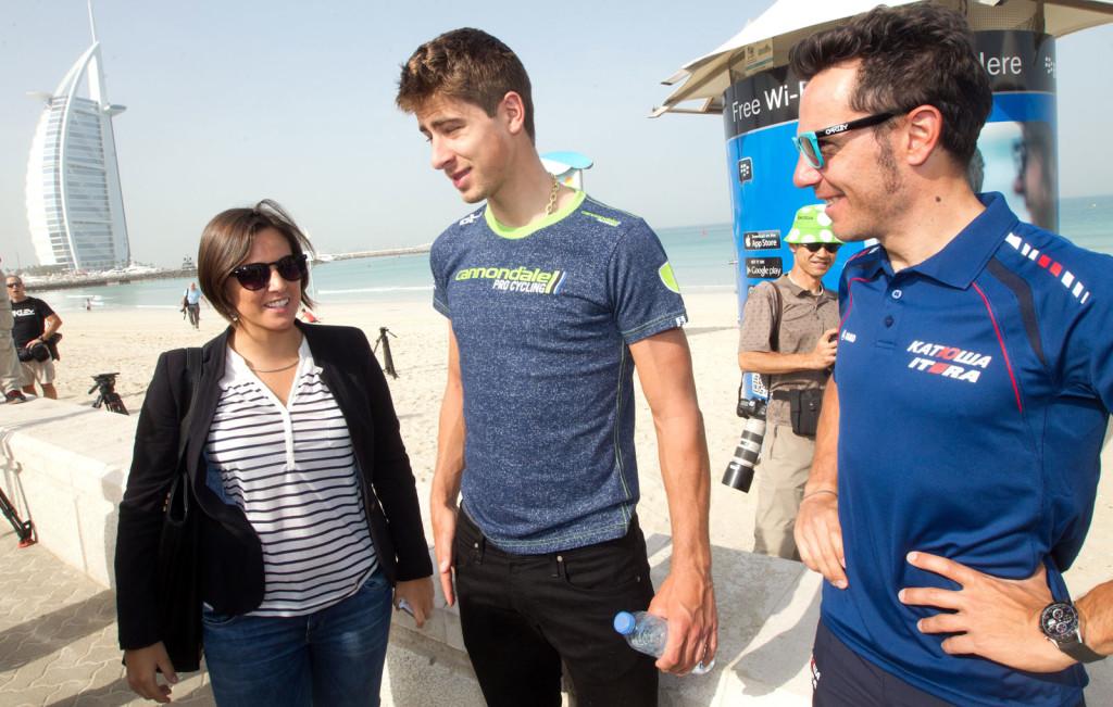Giulia De Maio Peter Sagan Joaquim Rodriguez Dubai 2014